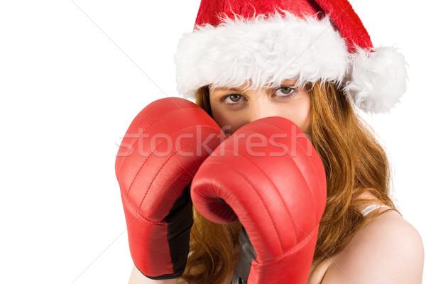 боксерские перчатки белый счастливым портрет Сток-фото © wavebreak_media