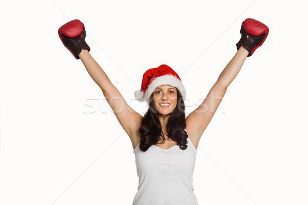 женщину красный боксерские перчатки белый женщины Сток-фото © wavebreak_media