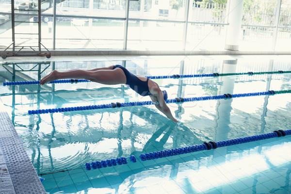 Vista lateral buceo piscina ocio centro Foto stock © wavebreak_media