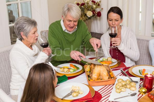 Dziadek kurczaka kobiet pitnej wino czerwone domu Zdjęcia stock © wavebreak_media