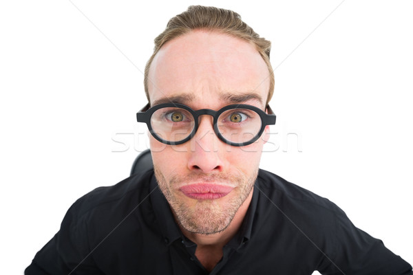 портрет geek лице белый бизнесмен Сток-фото © wavebreak_media