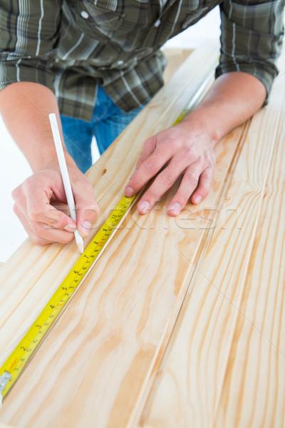 Сток-фото: плотник · рулетка · доска · изображение · белый