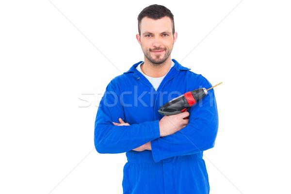 мастер на все руки власти дрель портрет белый Сток-фото © wavebreak_media