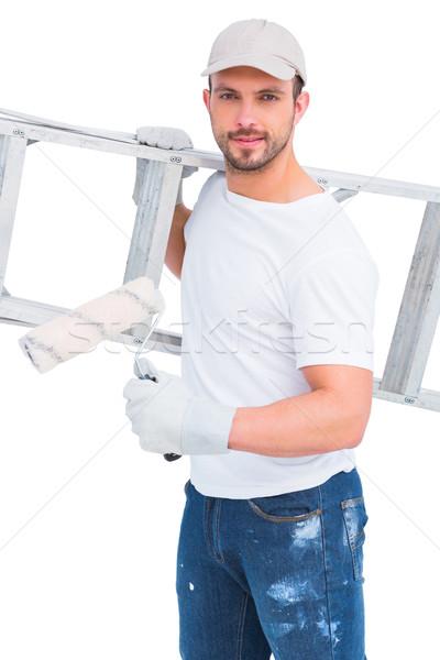 Bricoleur peinture échelle blanche homme heureux Photo stock © wavebreak_media