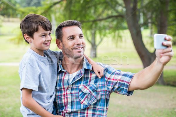 Stockfoto: Vader · zoon · park · voorjaar · man