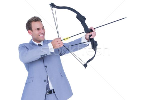 Gelukkig zakenman schieten boeg pijl witte Stockfoto © wavebreak_media