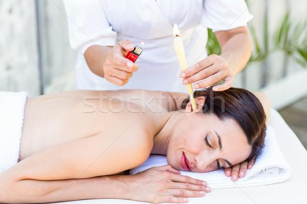 Bruna orecchio trattamento spa donna Foto d'archivio © wavebreak_media