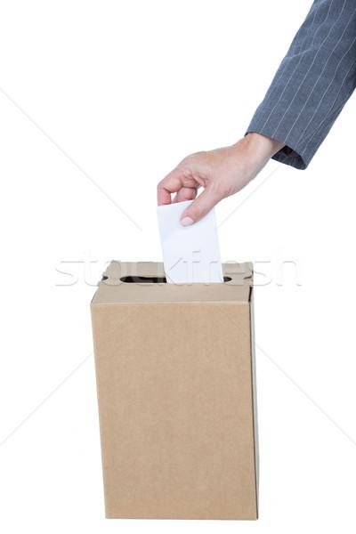 бизнесмен голосование голосования окна белый женщину Сток-фото © wavebreak_media