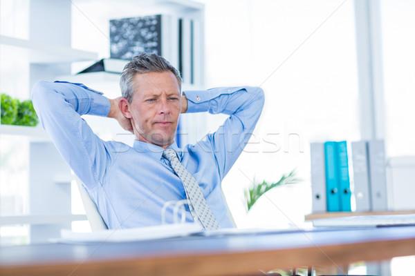Zamyślony biznesmen relaks krzesło biuro człowiek Zdjęcia stock © wavebreak_media