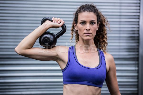 Portré izmos nő testmozgás kettlebell crossfit Stock fotó © wavebreak_media