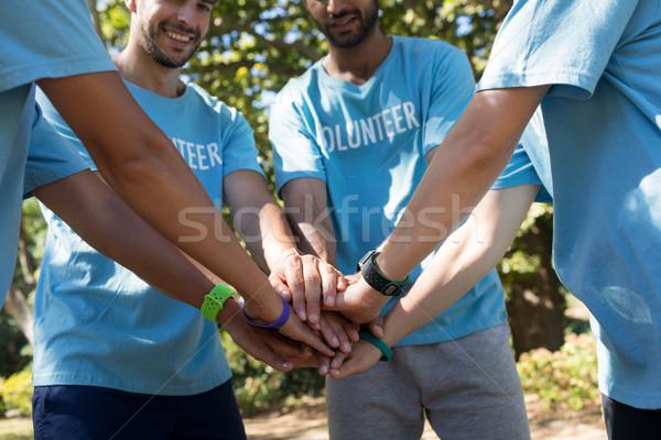 önkéntesek kéz boglya park természet laptop Stock fotó © wavebreak_media