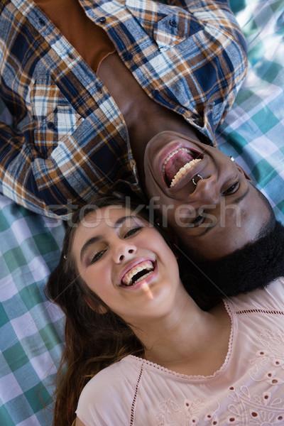 Para wraz koc parku portret dziewczyna Zdjęcia stock © wavebreak_media