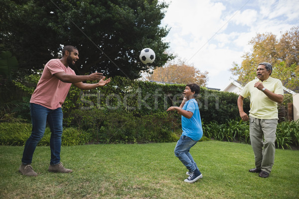 Smiling multi-generation family playing with soccer ball at park Stock photo © wavebreak_media