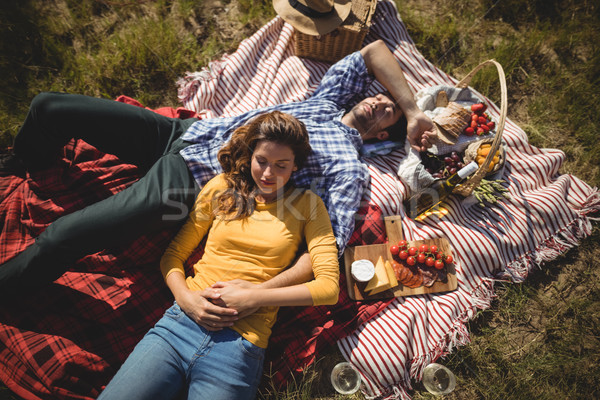Magasról fotózva kilátás fiatal pér pihen együtt piknik pokróc Stock fotó © wavebreak_media