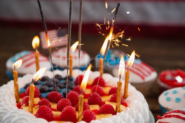 Patriotic 4th of july cake and cupcake Stock photo © wavebreak_media