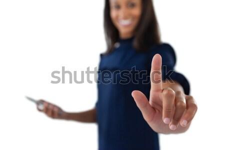 Női igazgató kisajtolás láthatatlan virtuális képernyő Stock fotó © wavebreak_media