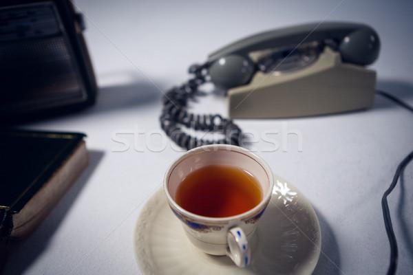 Görmek çay telefon radyo kitap Stok fotoğraf © wavebreak_media