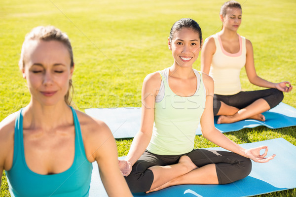 Smiling sporty woman doing yoga with her friends Stock photo © wavebreak_media