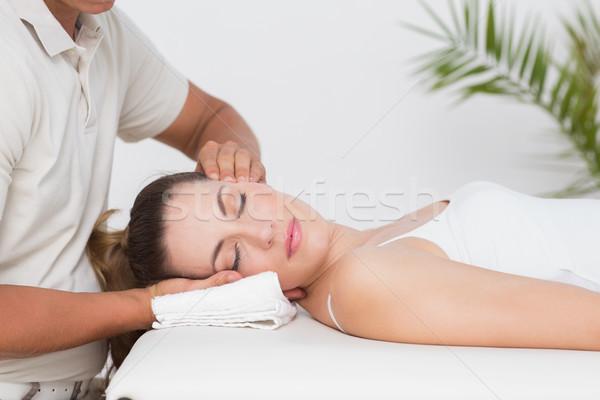 Kobieta szyi masażu medycznych biuro człowiek Zdjęcia stock © wavebreak_media
