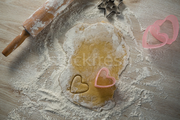 Directly above shot of heart shape cutter on dough Stock photo © wavebreak_media