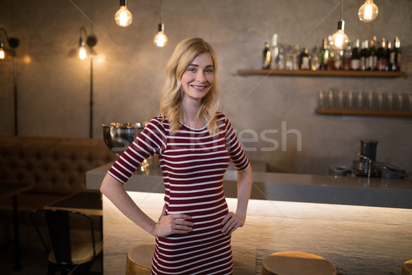 Portrait of beautiful woman standing with hands on hip at counter Stock photo © wavebreak_media