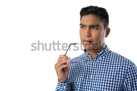 Férfi érintés láthatatlan képernyő fehér mosoly Stock fotó © wavebreak_media