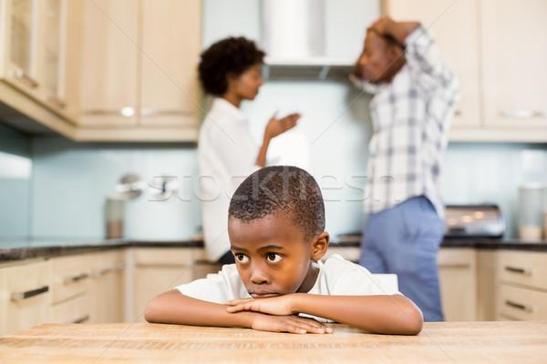Szomorú fiú szülők veszekedik konyha nő Stock fotó © wavebreak_media