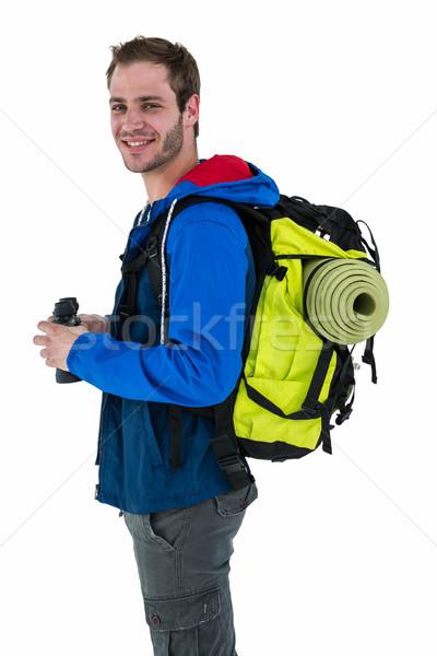 вид сбоку пеший турист бинокль белый человека Сток-фото © wavebreak_media