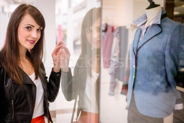 Gyönyörű nő ablak vásárlás pláza boldog divat Stock fotó © wavebreak_media