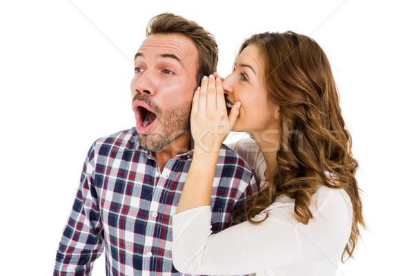 Kadın kulaklar beyaz adam mutlu Stok fotoğraf © wavebreak_media