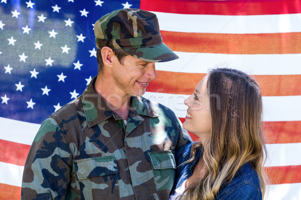 Feliz americano soldado parceiro bandeira americana homem Foto stock © wavebreak_media