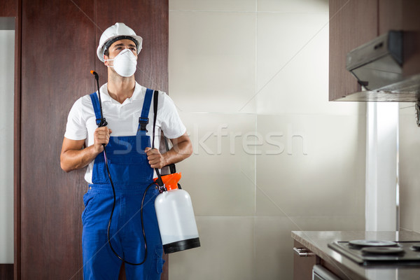 Front view of pest worker spraying in kitchen Stock photo © wavebreak_media