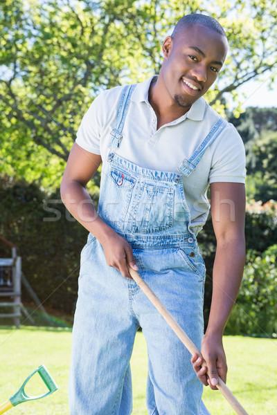 молодым человеком саду портрет рабочих черный сельского хозяйства Сток-фото © wavebreak_media