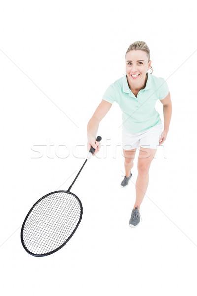 Bastante jogar badminton branco mulher Foto stock © wavebreak_media