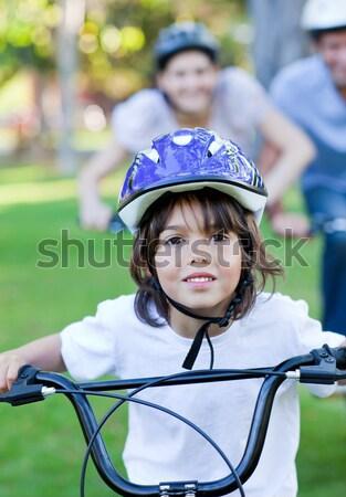 Male biker wearing bicycle helmet Stock photo © wavebreak_media