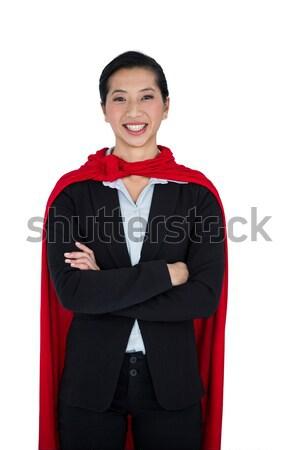 Kadın süper kahraman beyaz portre mutlu eğlence Stok fotoğraf © wavebreak_media