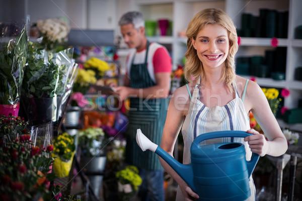 Gelukkig vrouwelijke bloemist bloemen portret Stockfoto © wavebreak_media