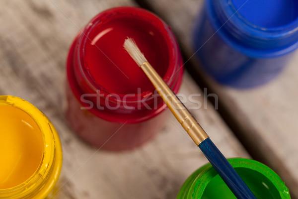 Paint brush on watercolor paints Stock photo © wavebreak_media