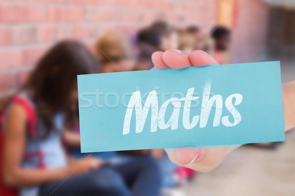 Сток-фото: математика · Cute · мобильного · телефона · женщину · стороны