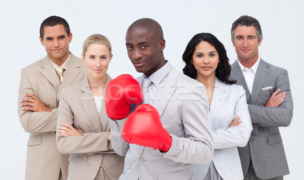 Afro-American businessman boxing and  leading his team Stock photo © wavebreak_media