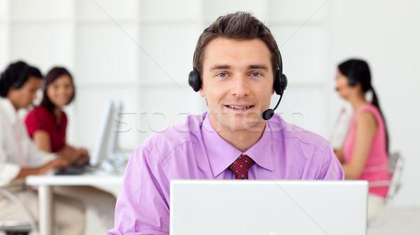 Tolakodó üzletember headset iroda üzlet nő Stock fotó © wavebreak_media