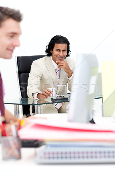Two smiling businessmen working in the office Stock photo © wavebreak_media