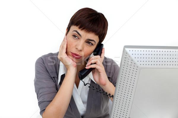 Genç işkadını telefon büro beyaz iş Stok fotoğraf © wavebreak_media