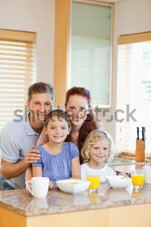 Vrolijk familie ontbijt keuken gelukkig schoonheid Stockfoto © wavebreak_media