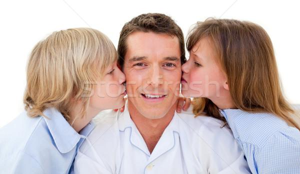 Adorável irmãos beijando pai branco família Foto stock © wavebreak_media