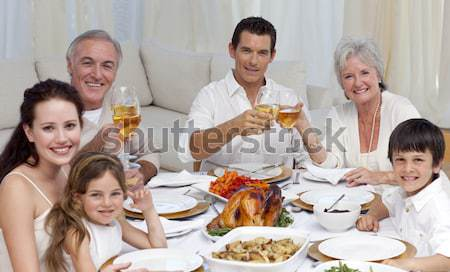 родителей дедушка и бабушка вино обеда семьи девушки Сток-фото © wavebreak_media
