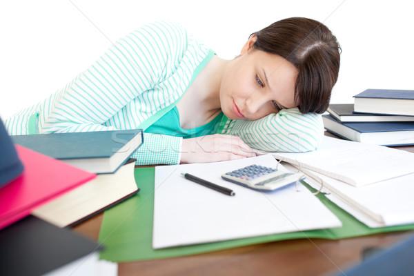 épuisé lumineuses femme étudier table living Photo stock © wavebreak_media