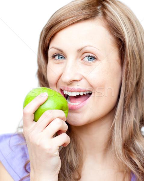 красивая женщина яблоко белый продовольствие счастливым Сток-фото © wavebreak_media