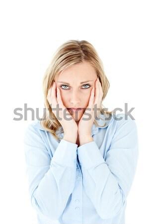 несчастный деловая женщина глядя камеры белый Сток-фото © wavebreak_media