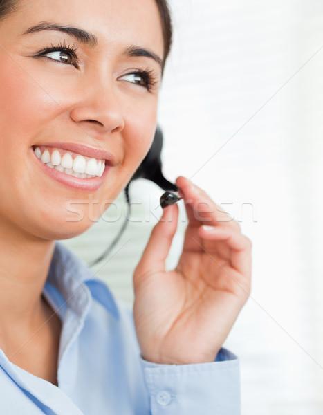 Retrato boa aparência feminino fone ajuda clientes Foto stock © wavebreak_media